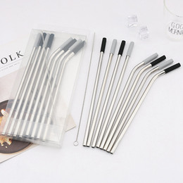 Curved straw online shopping - Stainless Steel Straw with Silicone Cover PVC Box Curved Straight Straw Mixed Package with Clean Brush Drinking Bar Home Straws Gift HHA822