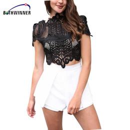 Short White Sexy Girl Australia - Bothwinner Summer Style Elegant Black Lace Crochet Crop Top Girls Short Sleeve White Women Sexy Hollow Out Tank Tops Y19050502
