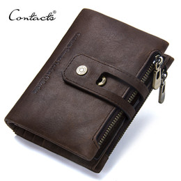 cash organizer wallet NZ - Contact's 2018 New Arrival Genuine Leather Men's Wallet For Men Small Zipper Organizer Wallets Cash Carteira For Man Coin Purses Y190701