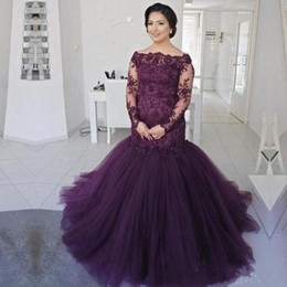mother s bride blue dress 2019 - Grape Purple Mermaid Mother Of The Bride Dresses Lace Sheer Long Sleeves Plus Size Mother 's Dress Tulle Sweep Trai
