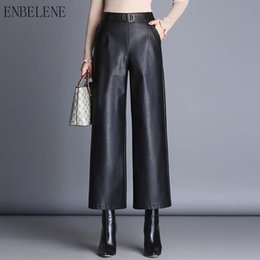 Wholesale black wide leg formal pants resale online – 2019 Autumn Pu Leather Wide Leg Pants Women Black Elastic Bottoms For Female Loose Ankle Length Points Trousers Ladies GH367 Y200107