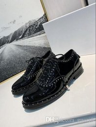 Discount womens formal flat shoes Hot Spike Rivet Womens Oxfords Patent leather Black Lady Formal Business Shoes Flat bottom