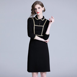 a5793476988 2019 Black Pencil Dress for Women Spring Vintage Formal Work Office Dress  Fashion Female Long Sleeve Slim Dress Plus Size