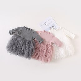 white ruffle tutu NZ - Girls Cake Princess Dress 2019 Spring pink White Grey Korean Kids Bow Knot Knitted Ruffle Dresses Children Party Dresses Boutique clothes
