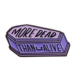 Wholesale pastel goth for sale - Group buy More dead than alive coffin pin pastel Goth badge always tired brooch casket zombie pins