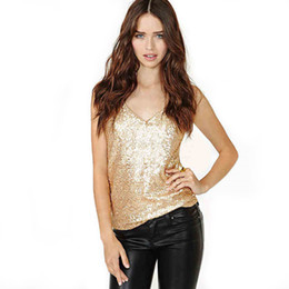 Chinese  Women Sequin V Neck Tank Sparkly Party Tops Shirt Fashion V-neck Backless Summer shining sexy Night club Vest LJJA2545 manufacturers