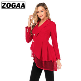 lace hem woman NZ - Autumn Spring Women Single Breasted Trench Coat Red Fashion Mesh Hem Irregular Casual Office Lady Business Short Outwear Lace