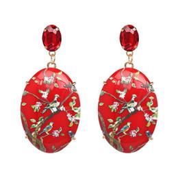 Chinese Style Dangling Earrings Australia - Chinese style Bohemia Geometric Bird Statement Dangle Earrings women brand long big resin Dangle earrings Brincos AL-061