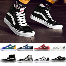 Original Vans old skool sk8 hi mens womens canvas sneakers black white red YACHT  CLUB MARSHMALLOW fashion skate shoes size eur 36-44 527d18e90