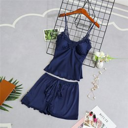 598143e918b9b Women Pajamas Sets Nightgowns Sexy Ladies Satin Nightwear Nighties Sleepwear  Shorts Pyjama Femme Silk Floral Robes Bridesmaids Y19051701