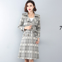 $enCountryForm.capitalKeyWord Australia - 2019 Autumn Women Trench Coat Long Sleeve Causal Plaid Windbreaker Female Double-breasted Patchwork Korean Fashion Outerwear 972