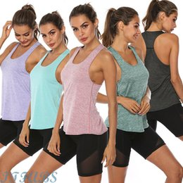 Summer topS yoga pantS online shopping - 2019 Hot Summer Womens Sports Gym Racer Back Running Vest Fitness Jogging Yoga Tank Top Colors Female Yoga Shirts Outfits