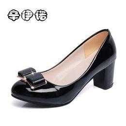 Cheap Halloween Shoes NZ - Dress 2019 Fashion Delicate Sweet Bowknot High Heel Shoes Mid Heel Shallow Mouth Women Pumps Cheap Sale