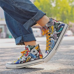 $enCountryForm.capitalKeyWord Australia - New High Up Sports Board Canvas Moisture Shoes Boy's Summer Air-permeable Shoes With Explosive Modification Hand-painted Size 39-44