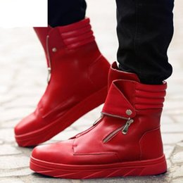 high top hip hop dance shoes UK - Fashion Men martin boots zipper High Top sneakers Hip Hop Leather Casual Shoes Lace Up Thick Platform Flats Street Dancing Shoes