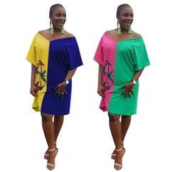 f6632fa89db9a 2019 Nouveau Casual Couleur bloc T-shirt Robes De Mode Hight Qualité Femmes  Patchwork Dress V Cou À Manches Courtes Femmes Lâche Mini Dress Robe