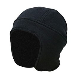 fleece earmuffs UK - Mens Women Winter Earmuffs Outdoor Thick Warm Cap Female Solid Color Fleece Earflap Skullies Hat Male Windproof Ski turban hat