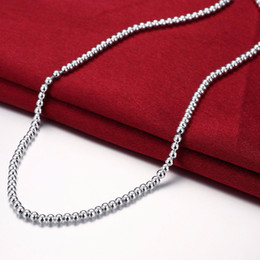 925 silver chains Australia - 925 Silver Necklace for Women 1mm 2mm 3mm 4mm Beads Ball Chain Necklace 18 inch Fashion Jewelry Christmas Gifts Drop Shipping