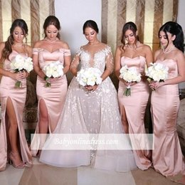Silk Satin Sheath Wedding Dresses Australia - Dusky Pink Mermaid Sheath Split Bridesmaid Dresses For Summer Weddings Bohemian Beach Wedding Guest Party Evening Gowns Off Shoulder BC0922