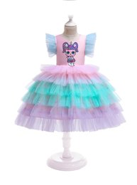 Satin lolita dreSS online shopping - Surprise girl Embroideried fly sleeve baby girl cake layer skirts children tired tutu dresses New design girls princess party dress holidays