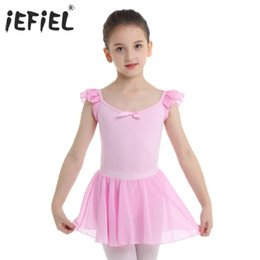 Wholesale ballet dance costumes for kids resale online - iEFiEL Kids Girls Dancing Bodysuit with Skirts U shaped Dancewear Ballet Lyrical Dance Costumes Gymnastics Leotard for Kids
