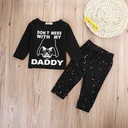 jacket star boy Canada - Newborn Baby Boy Girl Clothes Star Wars Long Sleeve Cotton Tops T-shirt+Long Pants 2pcs Outfit Set k Giyim