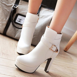 acfea96f32 Plus size 32 33 to 40 41 42 43 fashion white PU leather buckle platform  thick heels ankle boots black beige