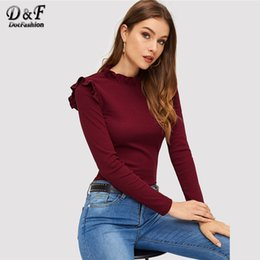 Wholesale Dotfashion Burgundy Frill Trim Solid Long Sleeve Tee Shirt Women Casual Autumn Stand Collar Tops Slim Fit Clothing Plain T Shirt