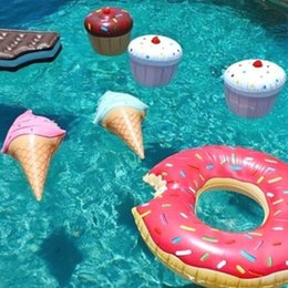 water floating party decorations NZ - Newly Swim Ring Water Pool Fun Float Toys Inflatable Birthday Ice Cream Children Game Toy Party Decorations 19ing