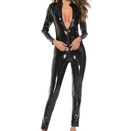 $enCountryForm.capitalKeyWord Australia - Faux Leather Jumpsuit Women Black Red Pink Open Crotch PU Leather Jumpsuit With Zipper Plus Size 4XL Pole Dance Rompers