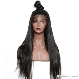 $enCountryForm.capitalKeyWord Australia - Lace Front Human Hair Wig Straight Black Women Long Silky Straight Remy Indian Human Hair Full Lace Wigs With Natural Hairline Full End