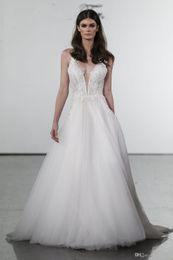 $enCountryForm.capitalKeyWord Australia - 2019 New Pnina Tornai Princess Wedding Dresses V Neck Backless Lace Beach Bridal Gowns Sweep Train Tulle Beach Wedding Dress Cheap