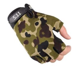 Free Finger Bikes Australia - Camouflage Men Women Half Finger Gloves Breathable Sports Gloves Antiskid Cycling Bike Gym Fitness Sports Half Finger Glove