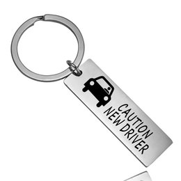 $enCountryForm.capitalKeyWord UK - 12 PC Wholesale Caution New Driver Keyring Women Men Drivers keychain Car Keyholder Family Friend Stainless Steel Key Ring Charm