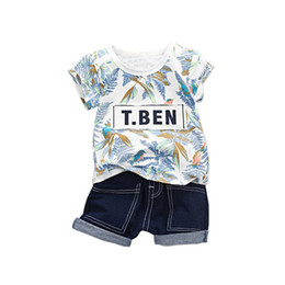 $enCountryForm.capitalKeyWord UK - Children's Sets 2Pcs Summer Baby Boys Girls Short Sleeve Floral Print T-shirt Tops+Denim Shorts Suits Casual Outfits Sets