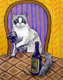 $enCountryForm.capitalKeyWord Australia - Animals Art Rag Doll Cat Wine, Oil Painting Reproduction High Quality Giclee Print on Canvas Modern Home Art Decor