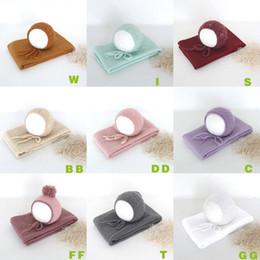Cotton Knit Baby Bonnets Australia - New Born Knit Wrap Set Vintage Baby Bonnet Stretch Knit Wrap Newborn Hat Cap Photography Prop Layering Fabric Swaddling Blanket J190517