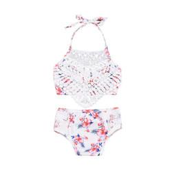$enCountryForm.capitalKeyWord Australia - New Baby Girls Lace swimsuit Fashion Floral Bow Lace-up Halter Kids Swimwear Summer Flower Children spa beach bathing suit Y2298