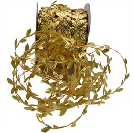 $enCountryForm.capitalKeyWord UK - 10meters Gold Leaves Vine Artificial Silk Leaf Handmade Scrapbooking Craft Wreath Wedding Party Decor Fake Flower Rattan Garland