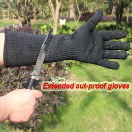 Cut finger knife online shopping - Standard Long Sleeve Cut proof Anti tear Gloves Black White Long Cut Knife Gloves Sleeves Long Steel Wire Gloves Arm Guard