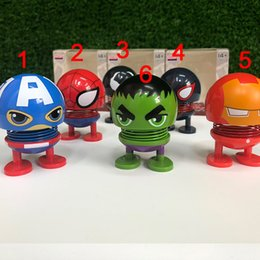 Decor Ornament Australia - 2019 Car Ornaments Funny Spring Toy Interior Accessories The Avengers Emoji Shaker Auto Decors Shaking Head Doll Car Decoration Toy