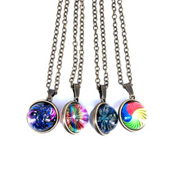 $enCountryForm.capitalKeyWord Australia - New Vintage Handmade Double Side Glass Ball Colorful Pattern Pendant Necklace Time Gem Jewelry for Women Men free Gift X001