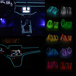 car interior atmosphere led lamp 2019 - 2m EL Wire Neon Lights 12V Flexible LED Strip Lights Auto Atmosphere Lamp Interior for Car Decoration Universal discount