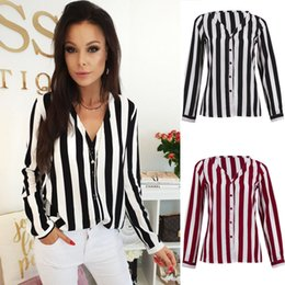 V Necks Shirts NZ - Womens Shirts Long Sleeve V Neck Striped Shirt Tops Ladies Casual Loose Blouse Fashion Women Clothes Summer