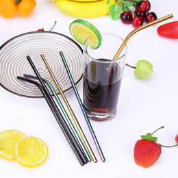 $enCountryForm.capitalKeyWord NZ - 3pcs pack Colorful Stainless Steel Drinking Straws Straight And Bent Reusable Filter With Cleaning Brush Diy Tea Coffee Tools