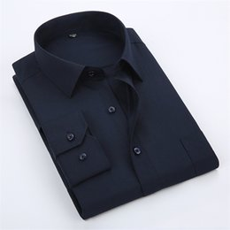 Plain Collar Shirts Australia - Soft Business Solid Plain Dress Shirts For Men Square Collar Long Sleeve Regular Fit Comfortable S To 5xl Formal Male Tops