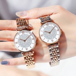 Discount full crystal women watches - Luxury Crystal Women Bracelet Watches 2019 Top Brand Fashion Casual Quartz Full Steel Round Dial Waterproof Female Wrist