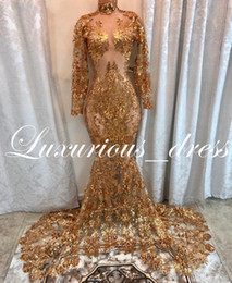 $enCountryForm.capitalKeyWord Australia - Sparkly Gold Sequins Mermaid Long Sleeves Prom Dresses Black Girls Sheer High Neck Court Train African Formal Evening Dress 2019
