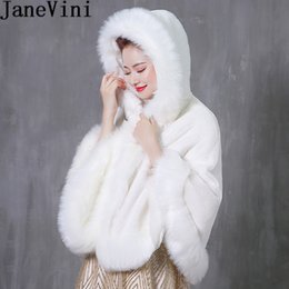 $enCountryForm.capitalKeyWord Australia - JaneVini 2019 Hooded Short Shrugs for Women Winter Cloack Faux Fur Wedding Wraps Bolero Fourrure Bridal White Cape Coat Abrigos Novia