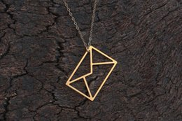 $enCountryForm.capitalKeyWord Australia - 5pcs hollow Envelope Necklace I love You Letter Minimal Everyday Necklace Letter Jewelry Origami Message Necklace jewelry